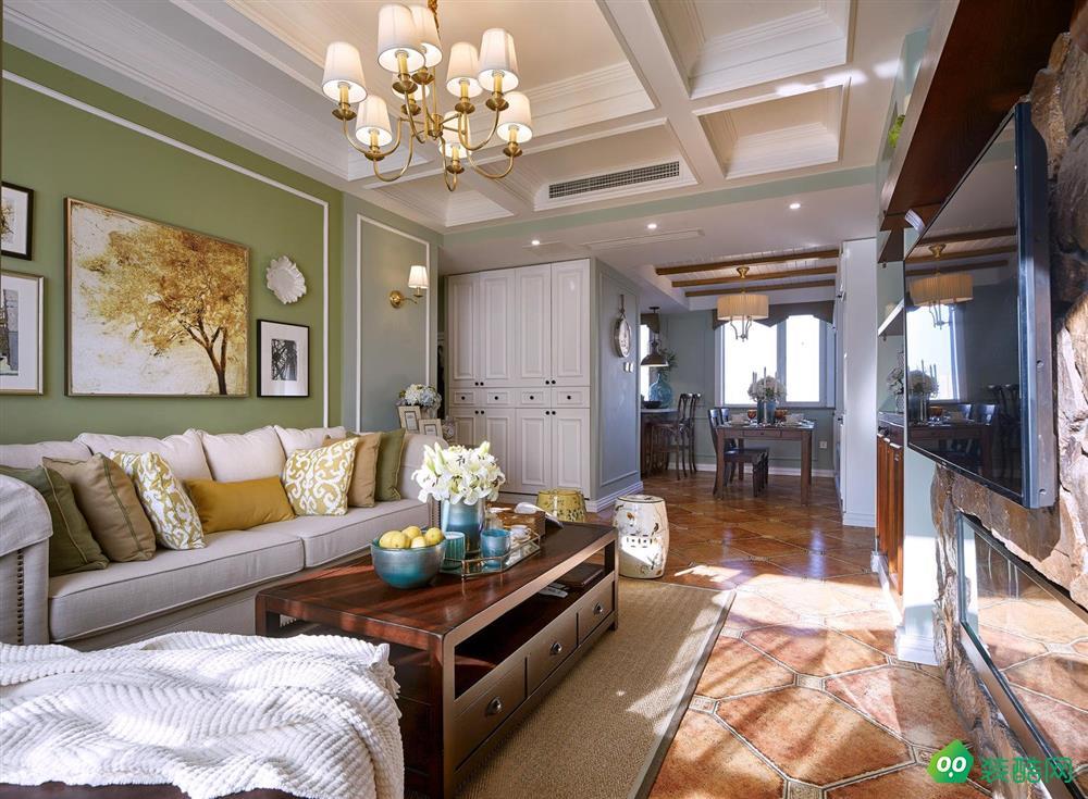 现代美式85平二居室装修效果图