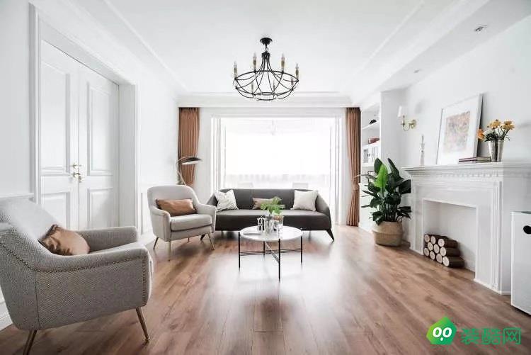 武漢綠地理想城-96平米美式風格兩室兩廳兩衛裝修效果圖片