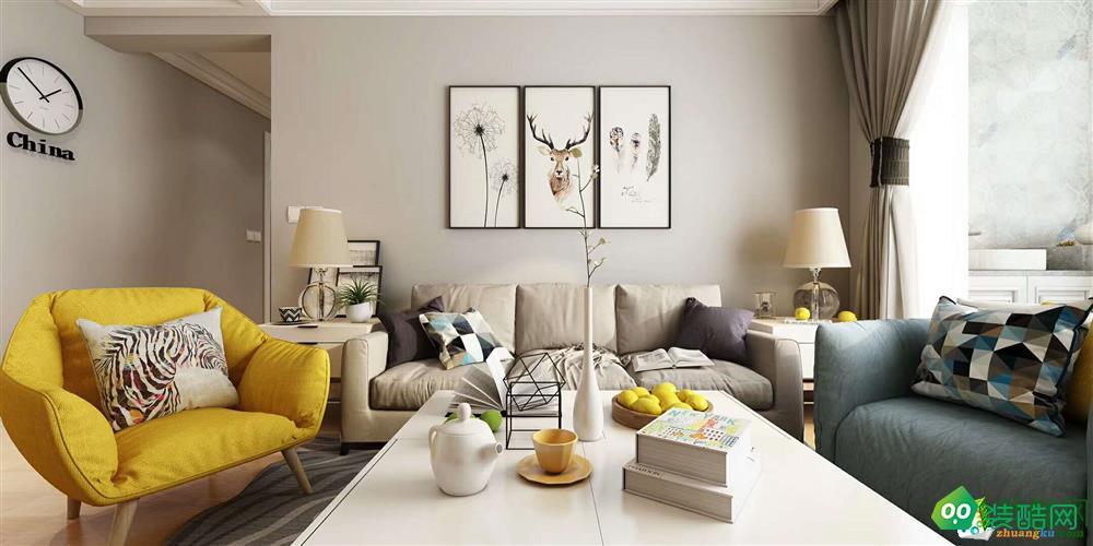 武漢世貿林嶼岸-88平米北歐風格兩室兩廳兩衛裝修效果圖片