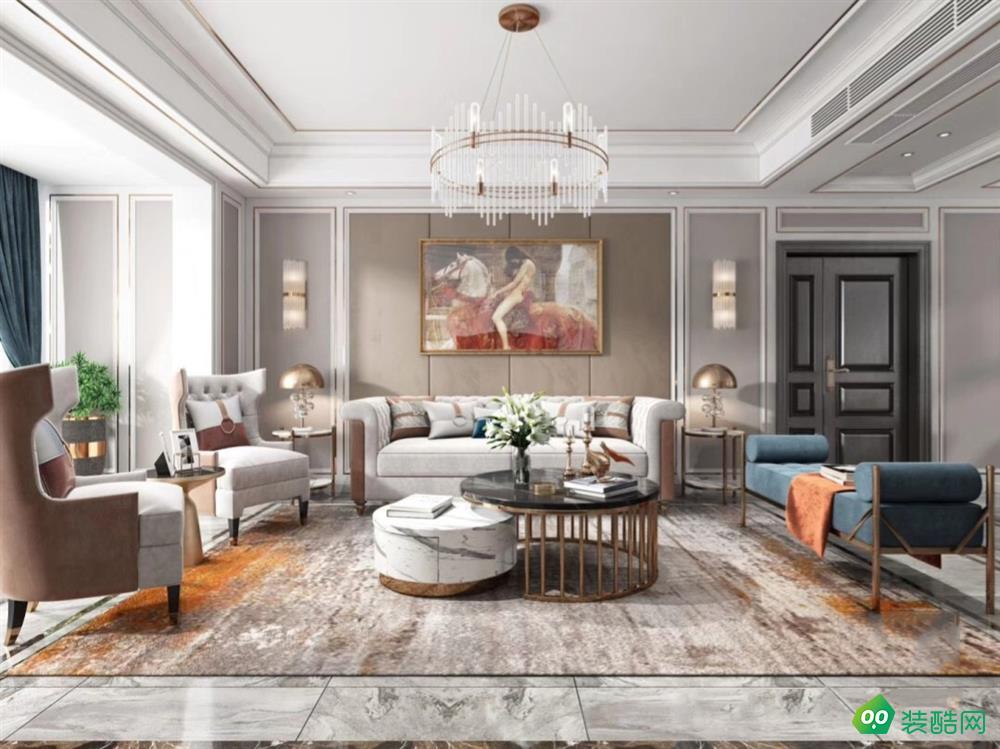 武漢金地湖山境-150平米歐式風格三室一廳一衛裝修效果圖