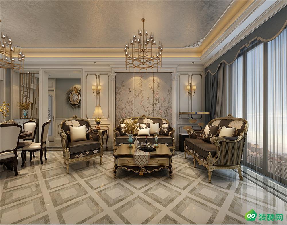 武漢復地東湖國際-170平米歐式風格三室兩廳兩衛裝修效果圖片