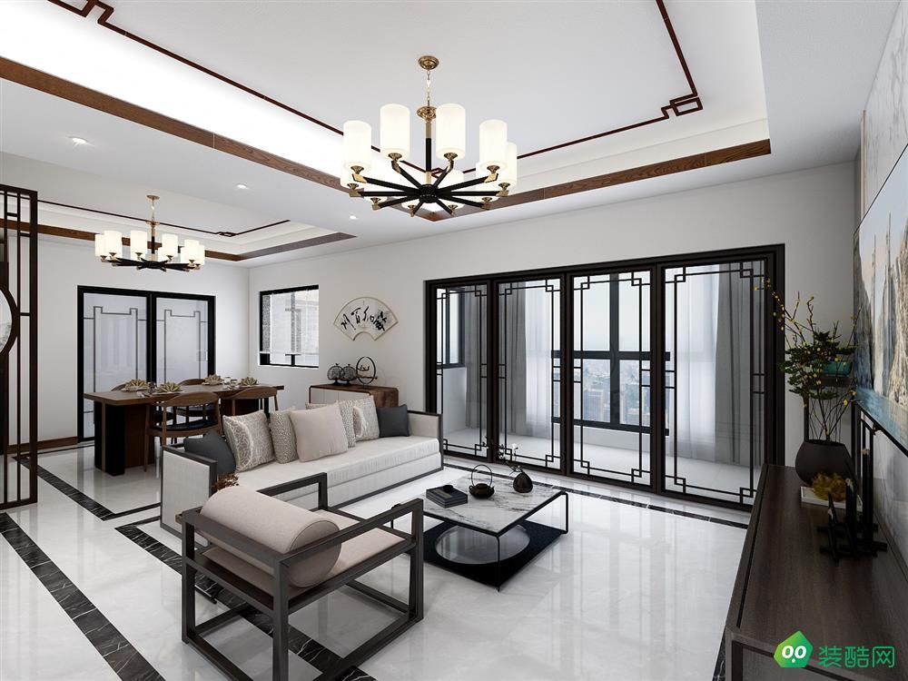 成都124平米新中式风格三室两厅装修效果图