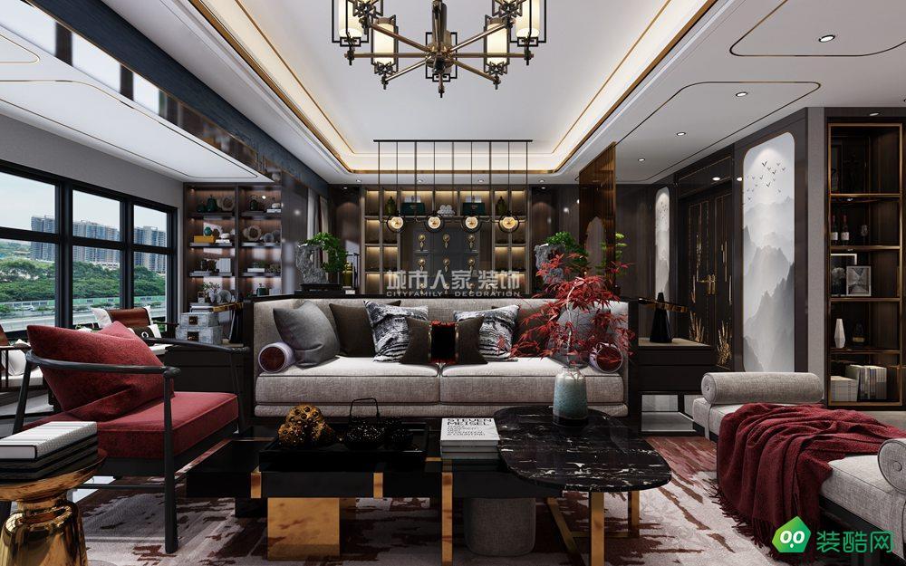 中航樾公馆170平米现代中式装修案例
