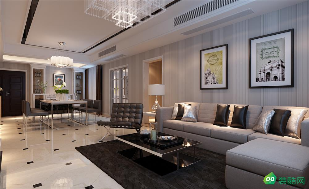 盐城124平米现代简约风格三室两厅装修案例效果图片