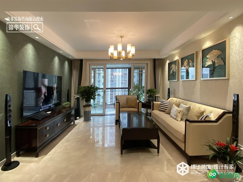 盐城130平米现代风格三室两厅装修效果图片