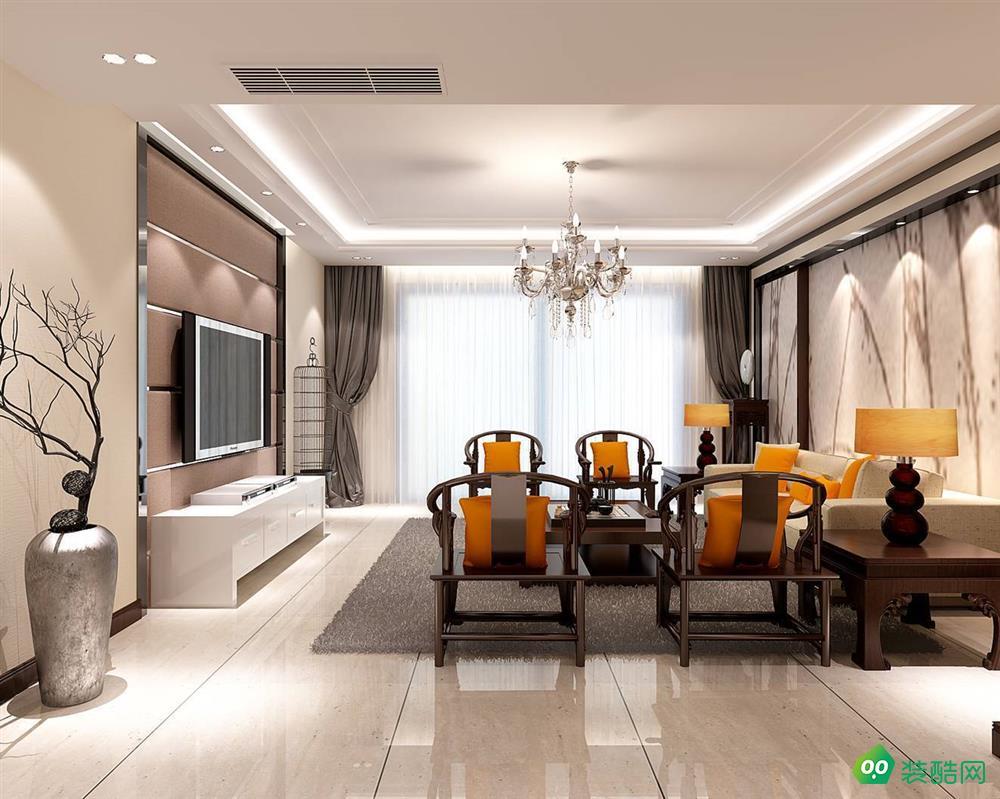 盐城128平米新中式风格三室两厅装修案例效果图