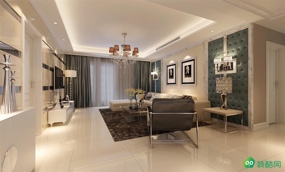 鹽城120平米簡歐風格三室兩廳裝修案例效果圖片-芳華裝飾