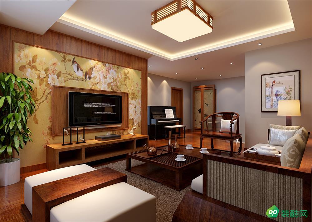 鹽城81平米新中式風格兩室兩廳裝修案例效果圖片-芳華裝飾