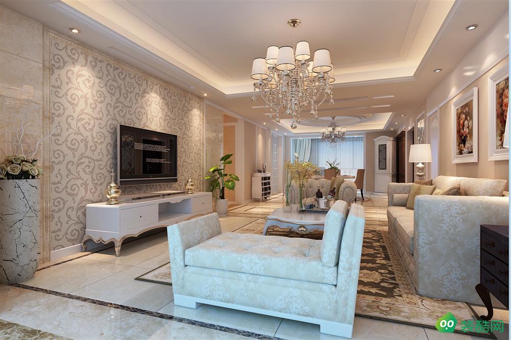 鹽城140平米簡歐風格三室兩廳案例裝修效果圖片-芳華裝飾