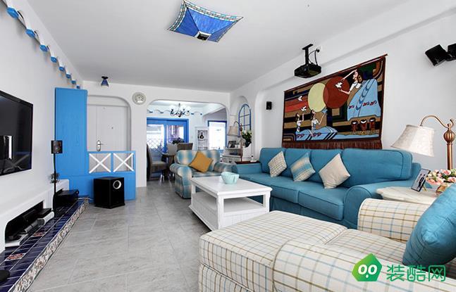 咸阳峰光无限装饰-95平米地中海风格三室两厅一卫装修效果图