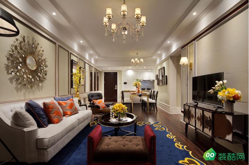 阜陽105平米三室新中式風格裝修效果圖-華圓裝飾
