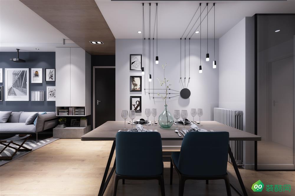 咸阳新艺装饰-100平米现代风格三室两厅一卫装修效果图