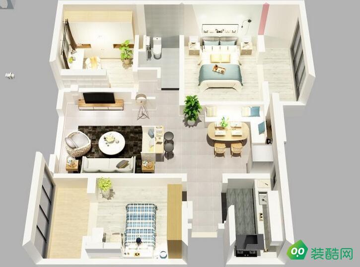 六盤水-103平米三居室北歐現代風格