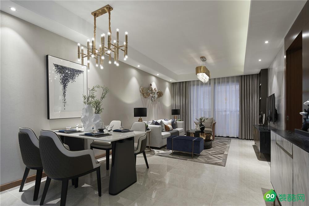 现代简约140平三居室装修效果图
