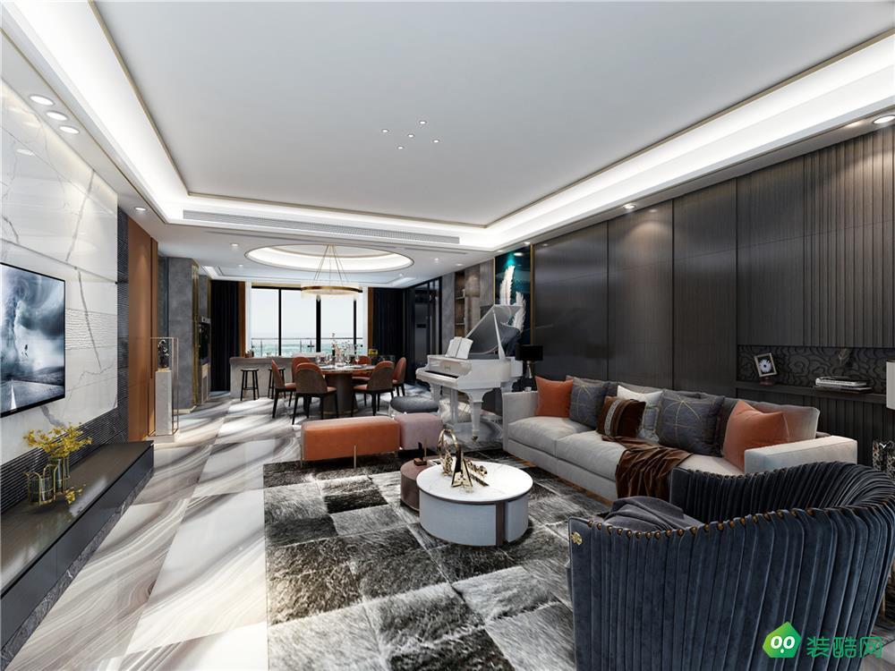 青島220平米四居室現代風格裝修案例圖片-業術裝飾