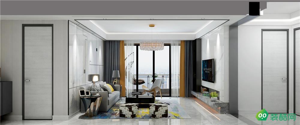 青島136平米現代風格三居室裝修案例圖片-業術裝飾