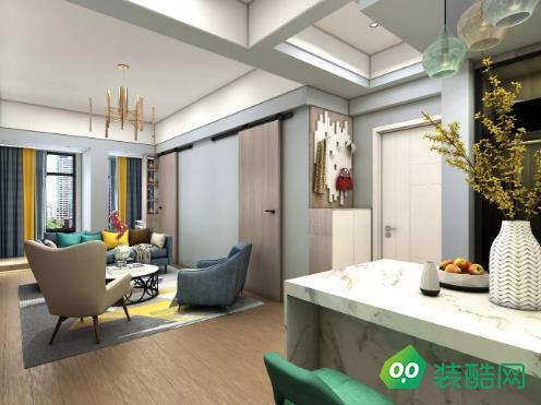 鴻曦悅海灣80㎡公寓簡約風格裝修效果圖-斯為美裝飾