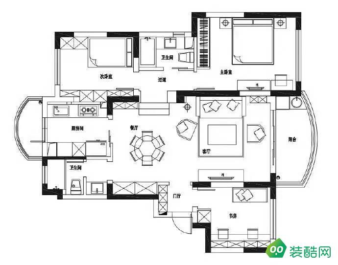 戎錦花園135平三室二廳新古典裝修效果圖