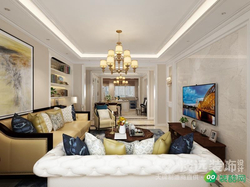 大連112平米簡歐風格三室兩廳裝修案例圖片-淡遠裝飾