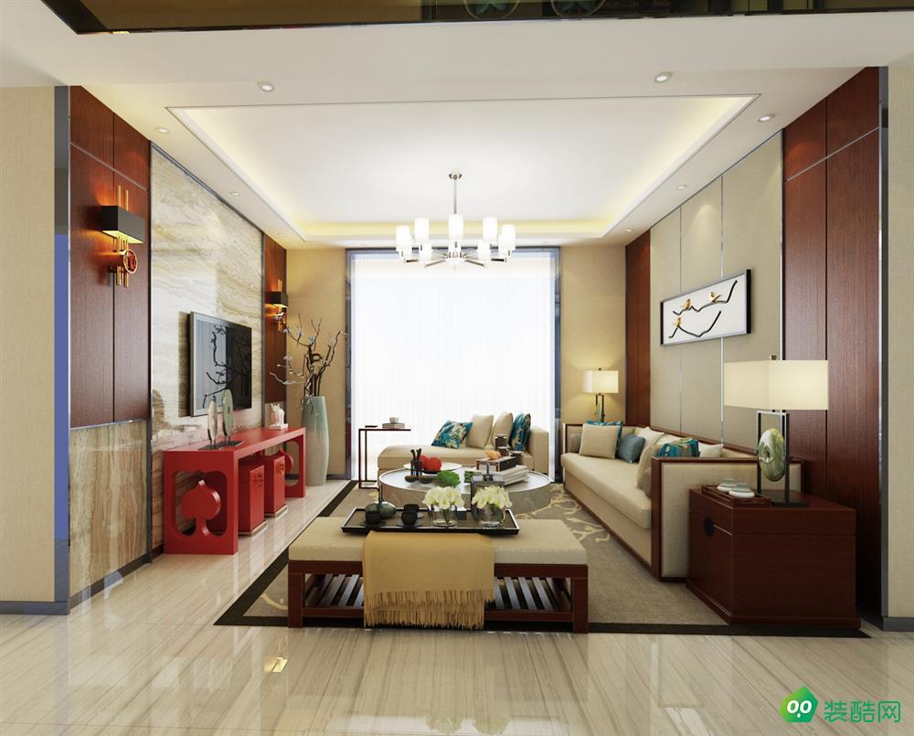 成都135平米新中式風格三居室裝修案例圖片-金牌裝飾