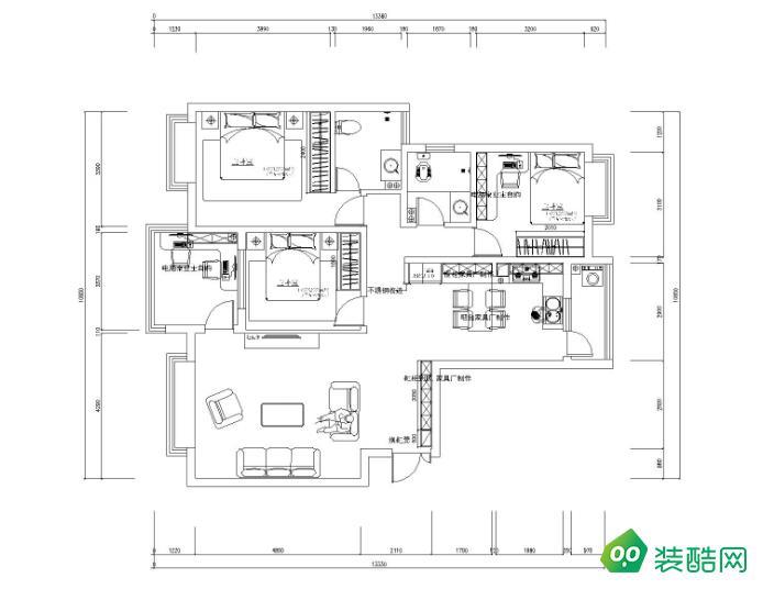 岳阳106平米三室北欧风格装修效果图-华丽装饰