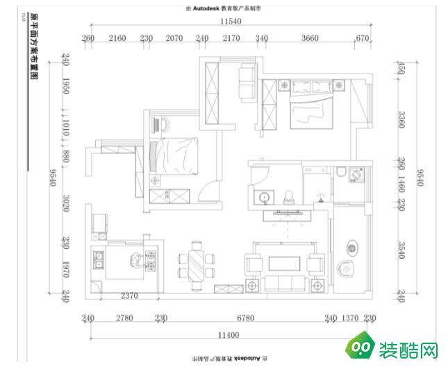 岳阳100平米两室北欧风格装修效果图-华丽装饰