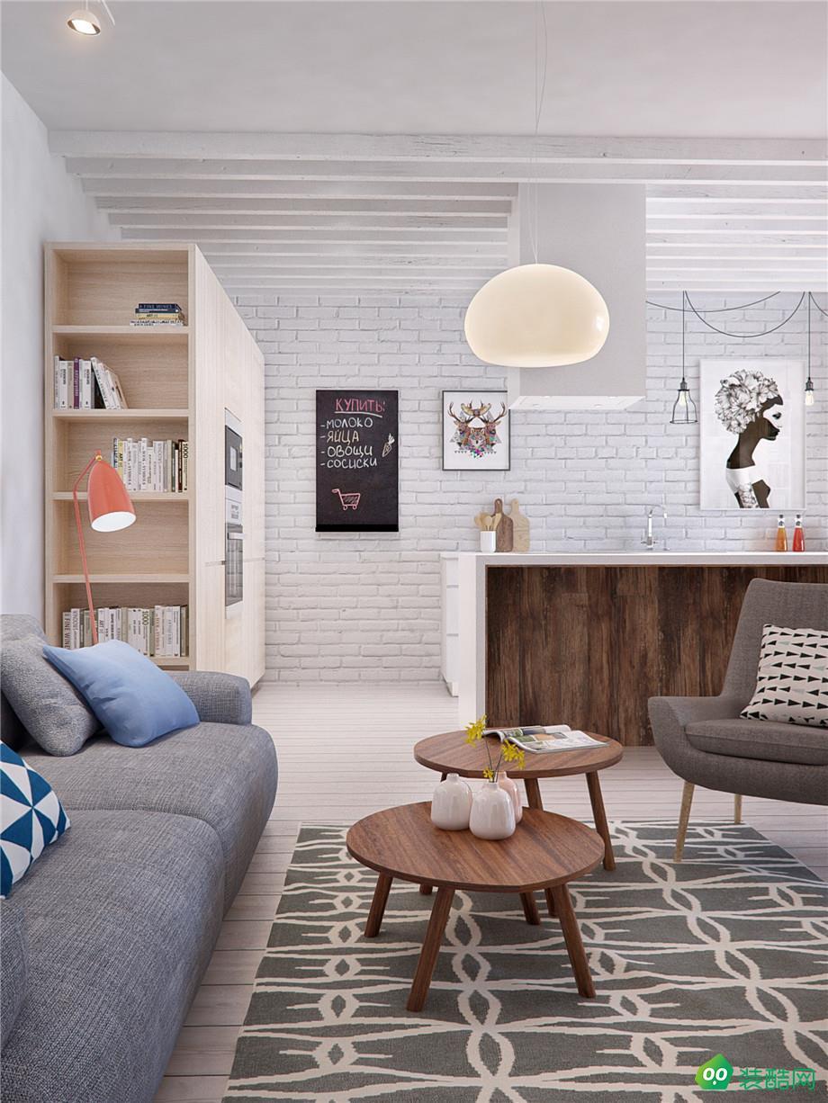 鸿正国际85平米北欧风格三室一厅装修案例图片-九天装饰