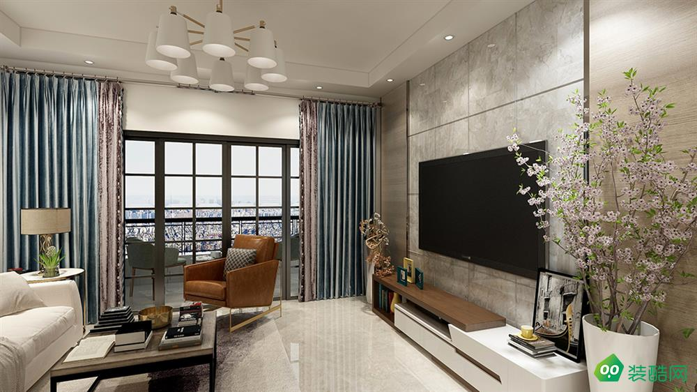 达州117平米北欧风格三居室装修案例图片-易百装饰