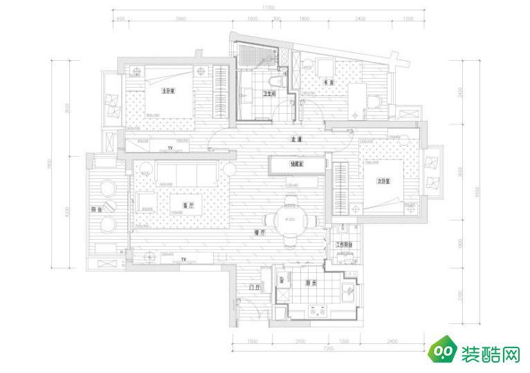 兰州-三居室-119平米新古典风格装修案例效果图