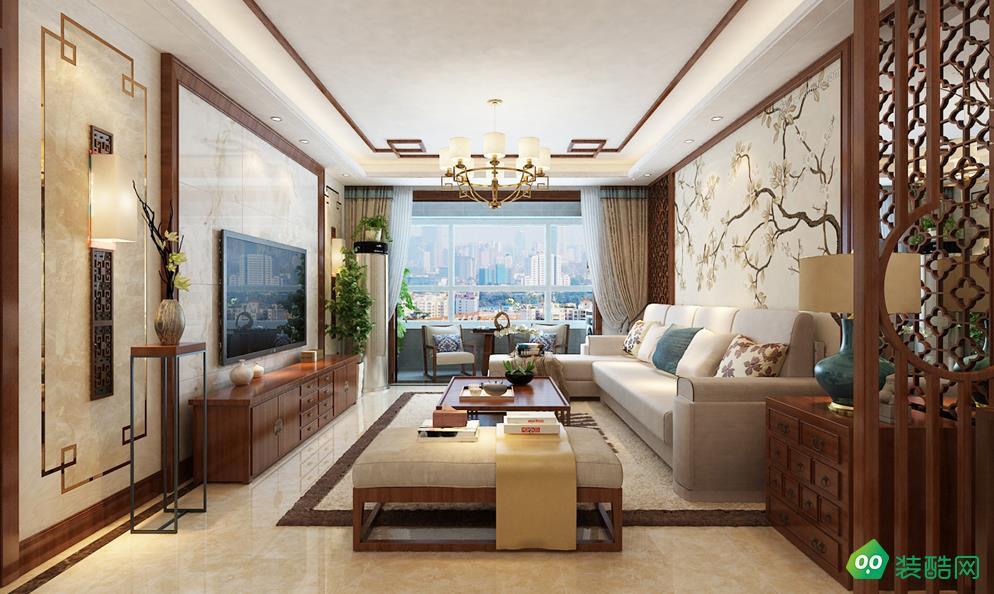 包头127平三室新中式风格装修效果图-交换空间装饰