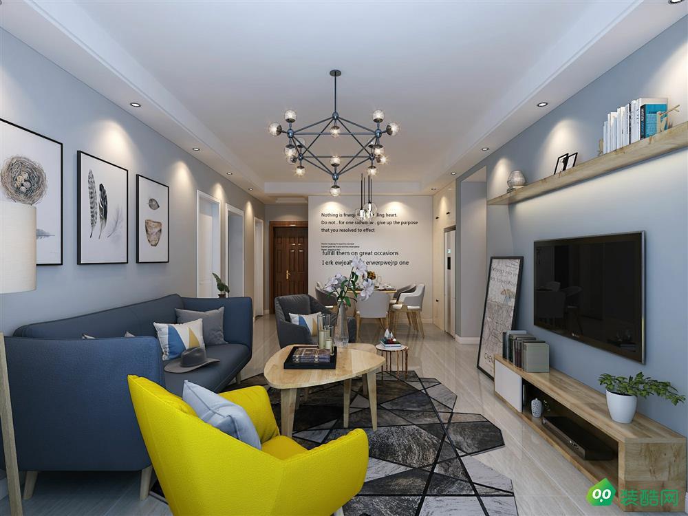 宜賓136平米北歐風格三室兩廳裝修案例圖片-久宜裝飾