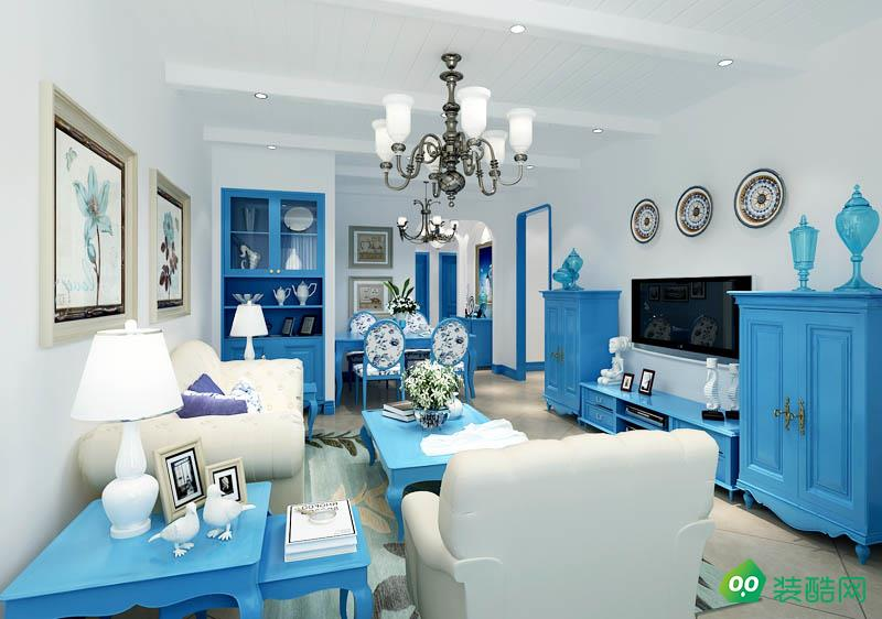 呼和浩特110平米三室地中海风格装修效果图-蜜蜂装饰