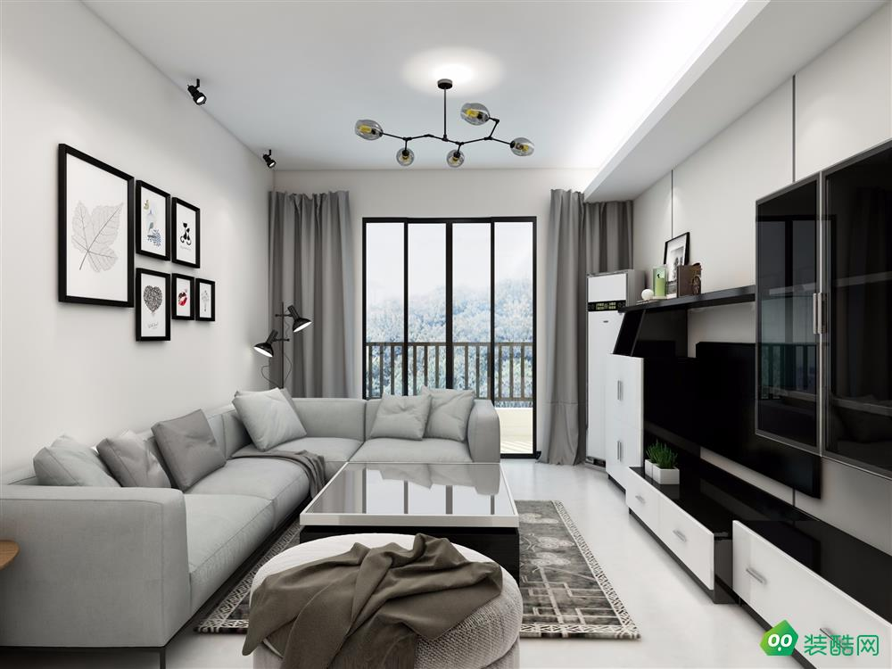 98平米两居室-现代简约风格装修效果图