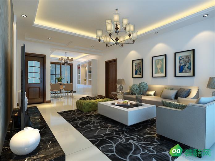 潼南現代簡約96平二居室裝修案例
