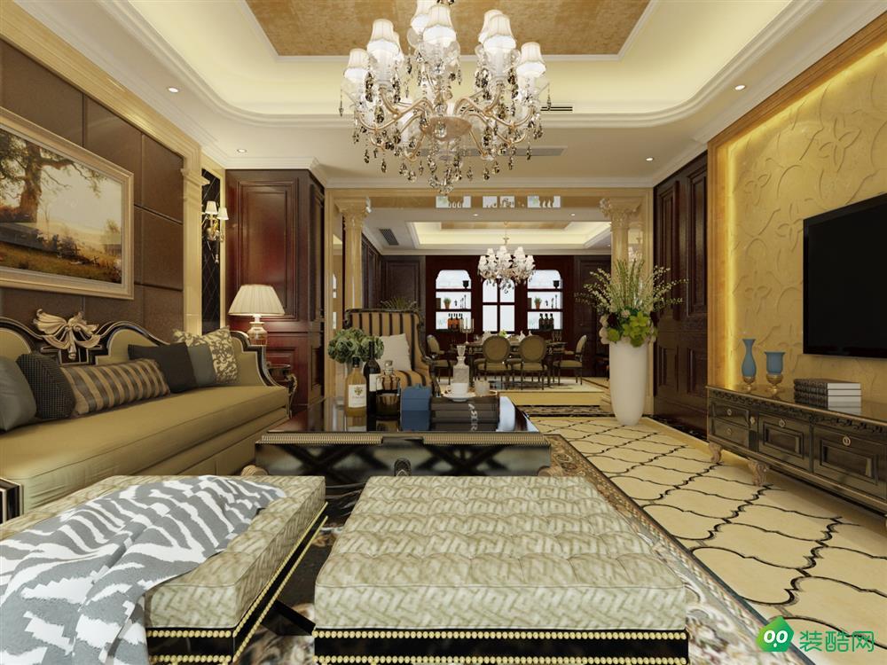 潼南歐式風格197平四居室裝修案例