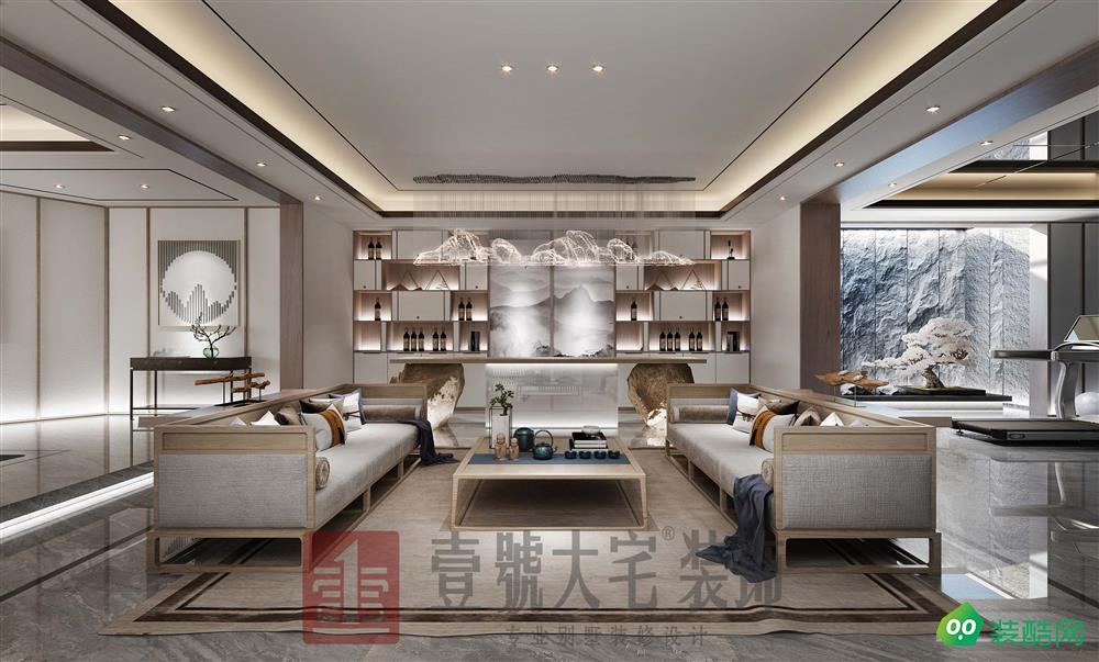 郑州思念果岭别墅350平方新中式风格装修效果图