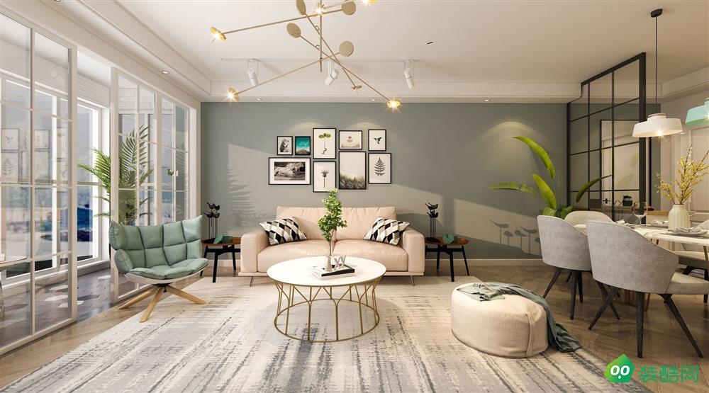 青岛92平米北欧风格两居室装修案例图片-尚筑名家装饰