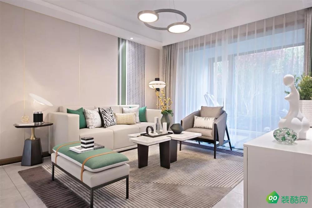 宜兴110平米现代轻奢风格三室两厅两卫装修效果图