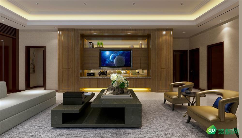 青岛128平米中式古典风格三室两厅装修案例图片-天喜同舟装饰