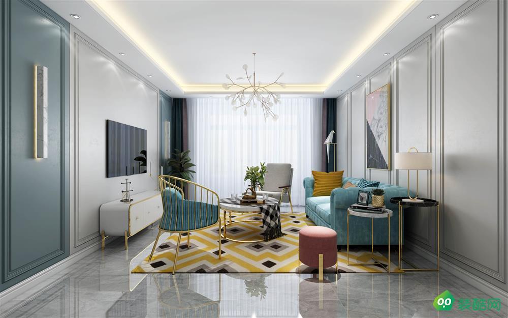 青岛103平米现代风格两居室装修案例图片-天喜同舟装饰