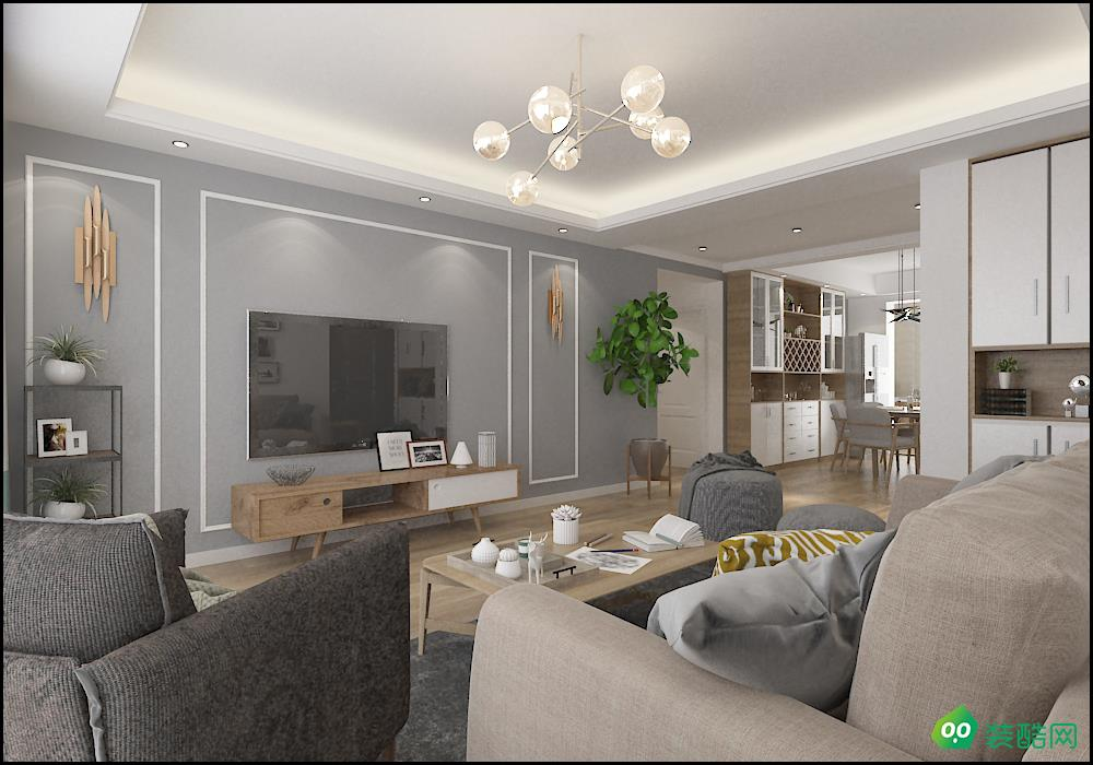 南京北欧风格125平三居室装修案例