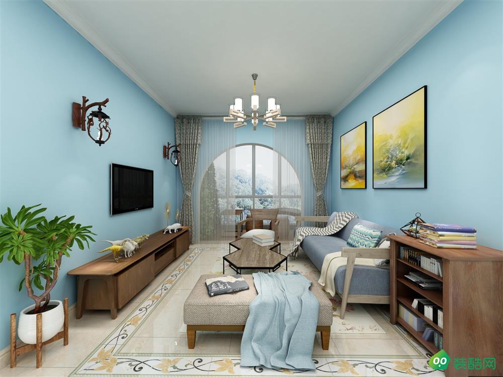 南充84平米北歐風格兩居室裝修案例圖-美誠家居
