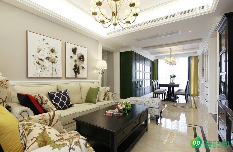 佛山118平米美式风格三室一厅装修效果图-果道装饰