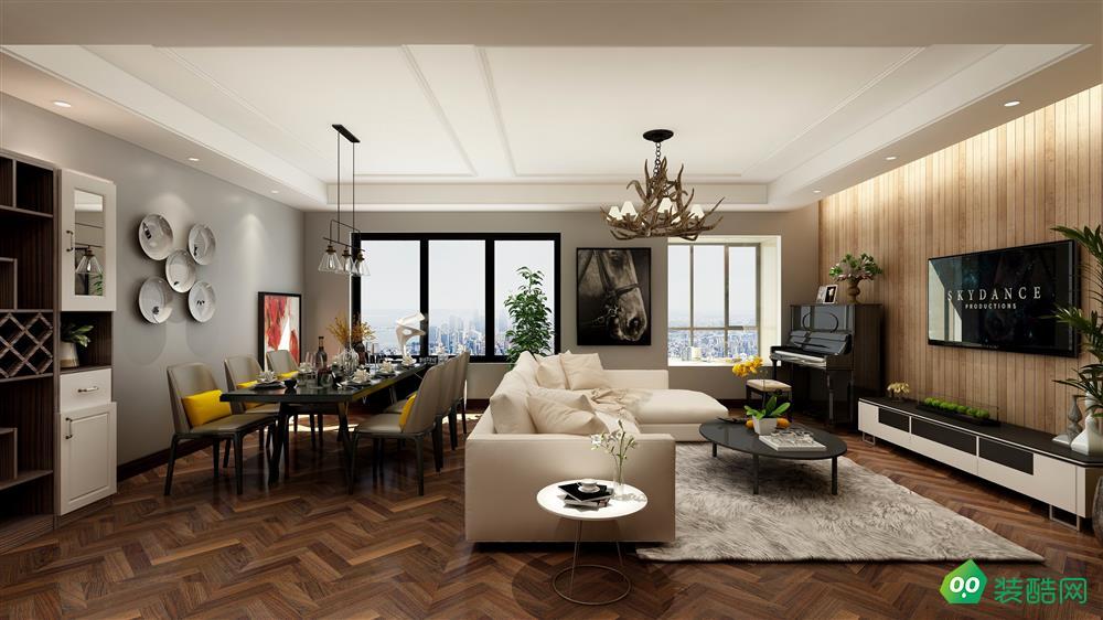 重慶124平米現代簡約風格三居室裝修案例效果圖-歐也裝飾