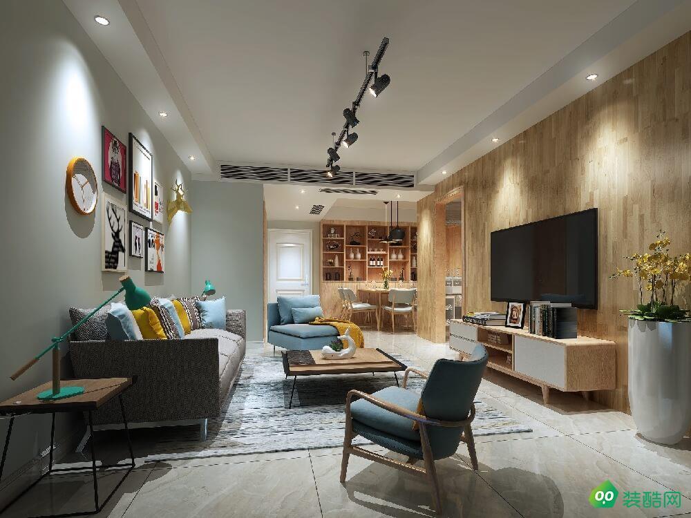 開封110平米北歐風格三室一廳裝修效果圖-厚信裝飾