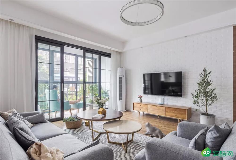 成都126平米三居室北歐風格裝修案例圖片