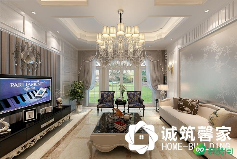 南京天澤苑530平米別墅簡歐風格裝修效果圖