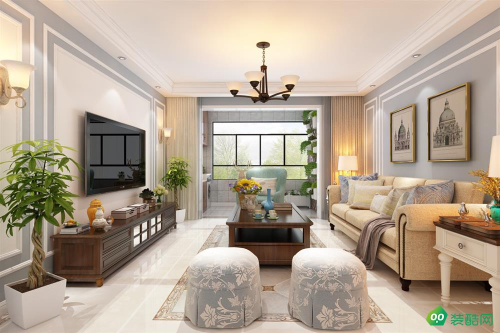 鹽城130平米美式風格三室兩廳裝修案例圖片