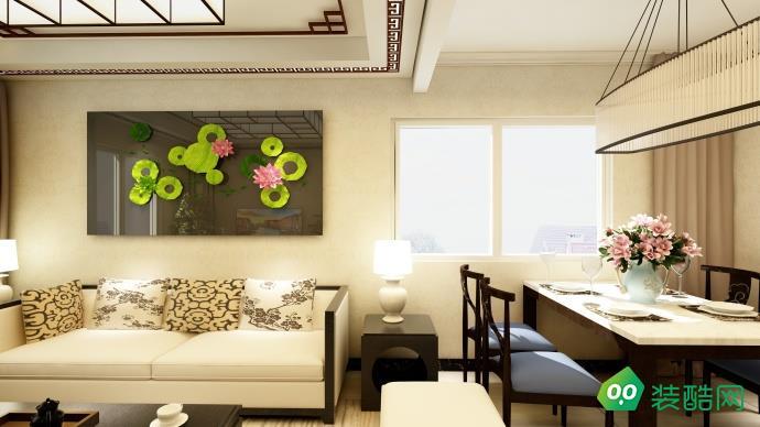 鄂州89平米新中式風格兩室兩廳裝修效果圖-鼎盛裝飾