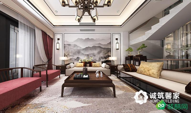 南京帝景天譽300平新中式風格裝修效果圖